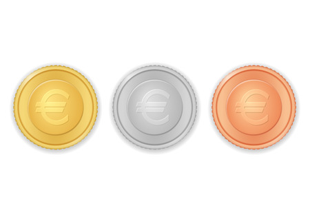 Coins with euro symbol on a white background.