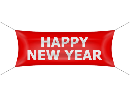 Banner happy new year on a white background.