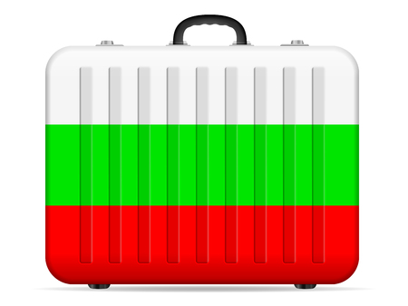 Bulgaria flag travel suitcase on a white background. Vector illustration.
