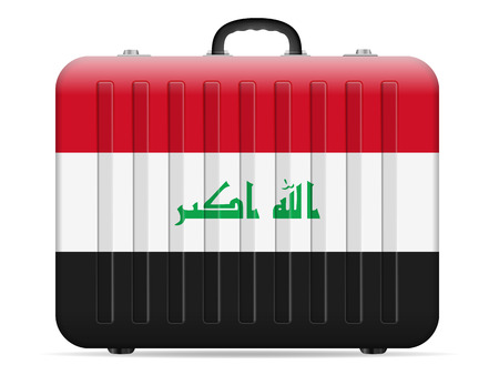Iraq flag travel suitcase on a white background. Vector illustration. Vectores
