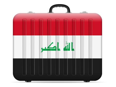 Valise de voyage drapeau Irak sur fond blanc. Illustration vectorielle. Vecteurs
