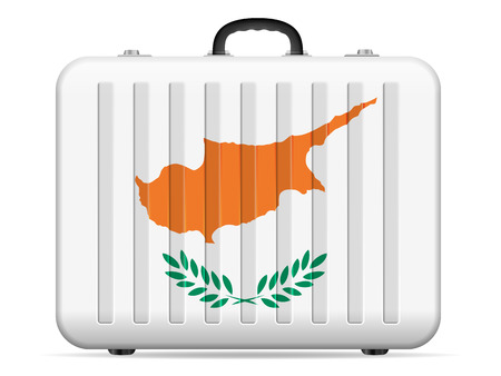 Cyprus flag travel suitcase on a white background. Vector illustration.