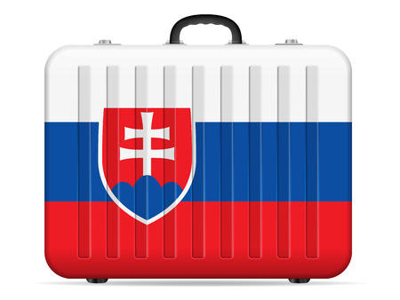 Slovakia flag travel suitcase on a white background. Vector illustration.