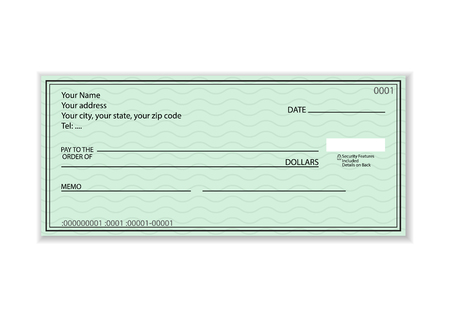 Bank check on a white background. Vector illustration.
