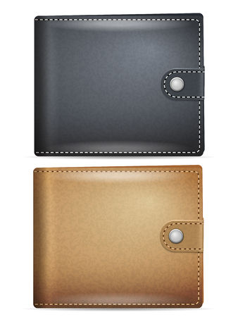 Leather wallet set on a white background. Stock Illustratie