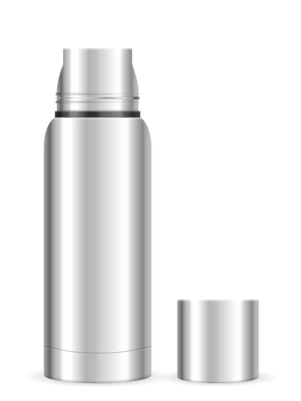 Thermos flask on a white background. Vector illustration. Illustration