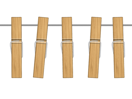 Wooden clothespins hang on rope. Vector illustration