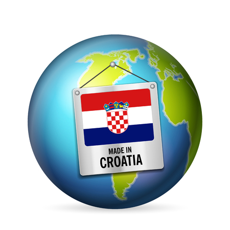 Sign made in Croatia on a white background.