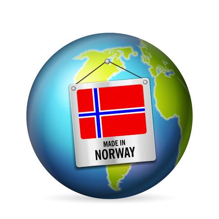 Zeichen hergestellt in Norwegen auf einem weißen Hintergrund.