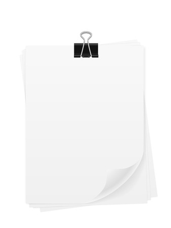 Paper sheet and binder clip on a white background. Archivio Fotografico - 125659472