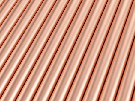 Background formed by copper pipes. 3D illustration.
