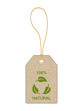 Price tag with natural symbol on a white background.