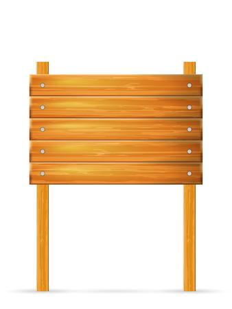 Cartel de madera sobre un fondo blanco. Ilustración de vector