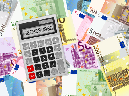 Calculator on euro banknotes background. Vector illustration.