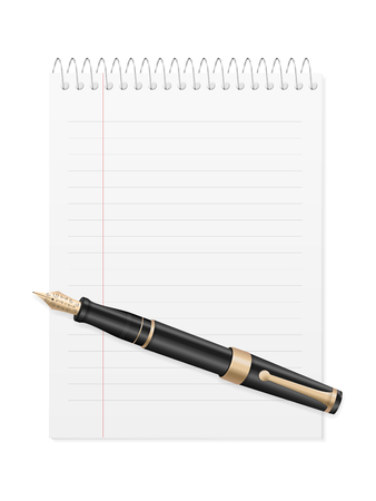 Pen and notebook on a white background. Vector illustration.