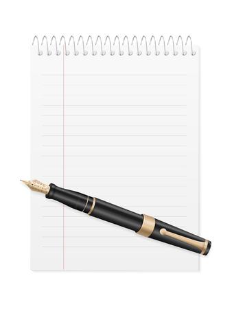 Stylo et bloc-notes sur fond blanc. Illustration vectorielle.