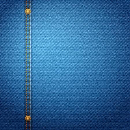 Blue denim background with stitch. Vector illustration.