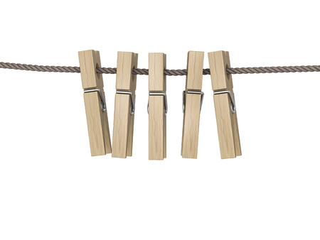 Clothes pegs hooked on wash-line. 3d illustration.