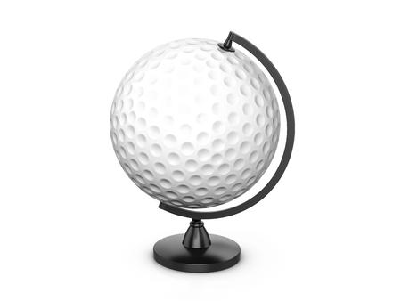 Golf ball globe on a white background. 3d illustration. Stock Photo