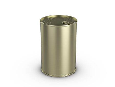 Tin can on a white background. 3d illustration. Stock Photo