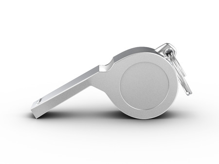 Referee whistle on a white background. 3d illustration.