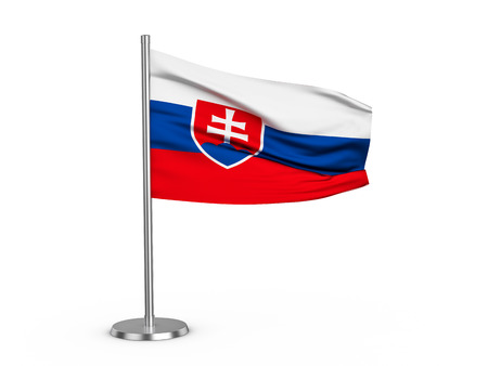 Flapping flag Slovakia on a white background. 3d illustration. Stock fotó