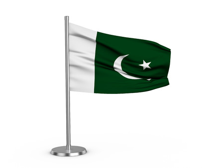 Flapping flag Pakistan on a white background. 3d illustration.