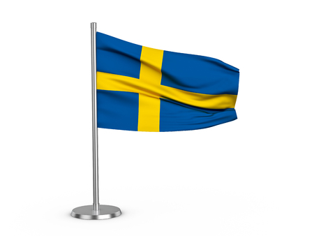 Flapping flag Sweden on a white background. 3d illustration. Stock Photo