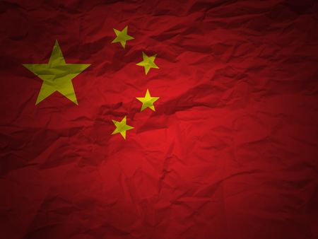 China flag on a grunge paper background
