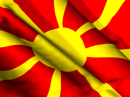 Waving close up North Macedonia flag background. 3d illustration. 스톡 콘텐츠