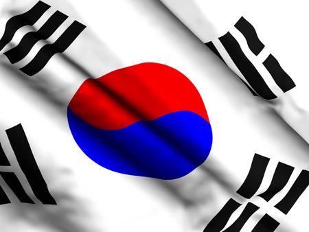 Waving close up South Korea flag background. 3d illustration.
