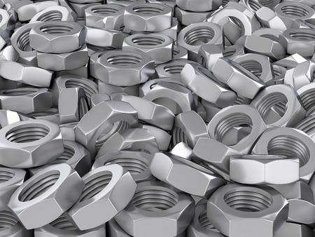 Background formed by metal nuts. 3d illustration.