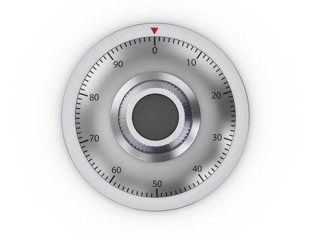 Combination lock safe on a white background. 3d illustration. Stockfoto