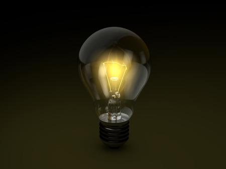 Lampadina su sfondo nero. illustrazione 3D. Archivio Fotografico