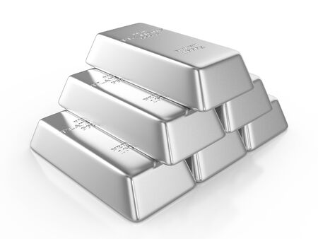 Platinum bars on a white background. 3D illustration.