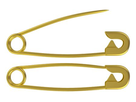 Safety pin set on a white background. 3d illustration. Stock Photo