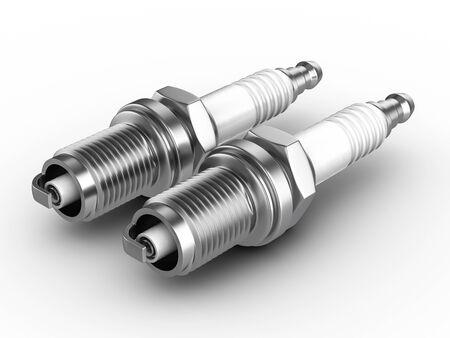 Spark plugs on a white background. 3d illustration. Stockfoto