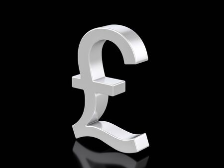Metallic pound symbol on a black background. 3d illustration.