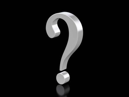 Metallic question symbol on a black background. 3d illustration.
