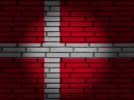 Denmark flag on brick wall. 3d illustration.