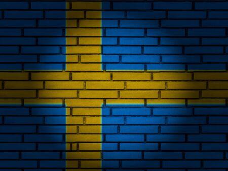 Sweden flag on brick wall. 3d illustration.