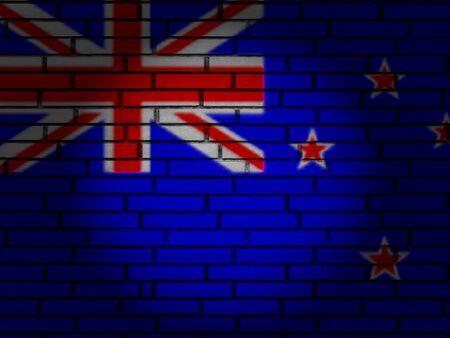 New Zealand flag on brick wall. 3d illustration.
