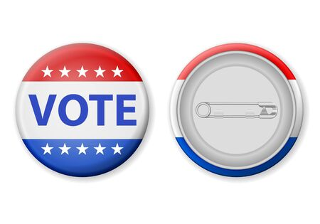 Vote badge pin on a white background. Vector illustration.