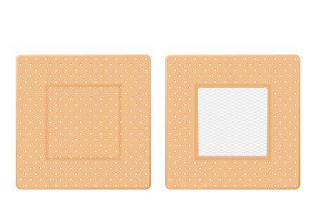 Medical plasters on a white background. Vector illustration. Çizim