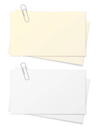 Paper sheet and paper clip on a white background. Ilustrace