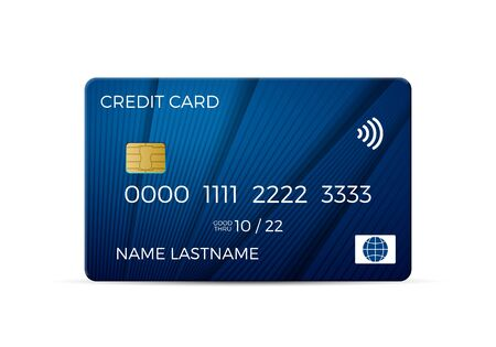 Credit card on a white background. Vector illustration.