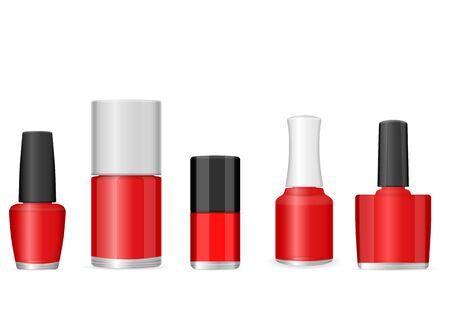 Nail polish set on a white background. Vector illustration.
