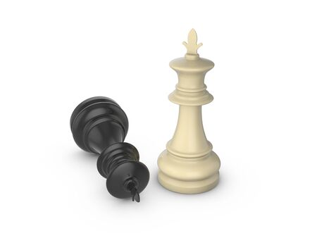 Chess kings  on a white background. 3d illustration. Фото со стока - 131855186