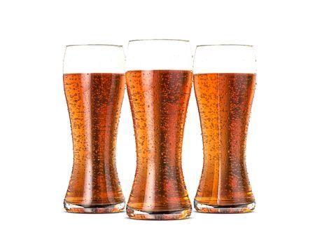 Beer glasses on a white background. 3d illustration.