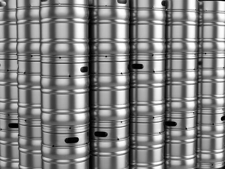 Background formed by beer kegs. 3d illustration. Stok Fotoğraf